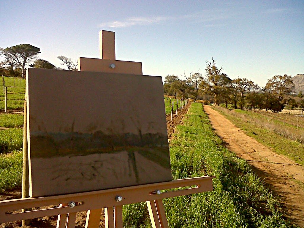 Plein air painting in the field, easel in landscape