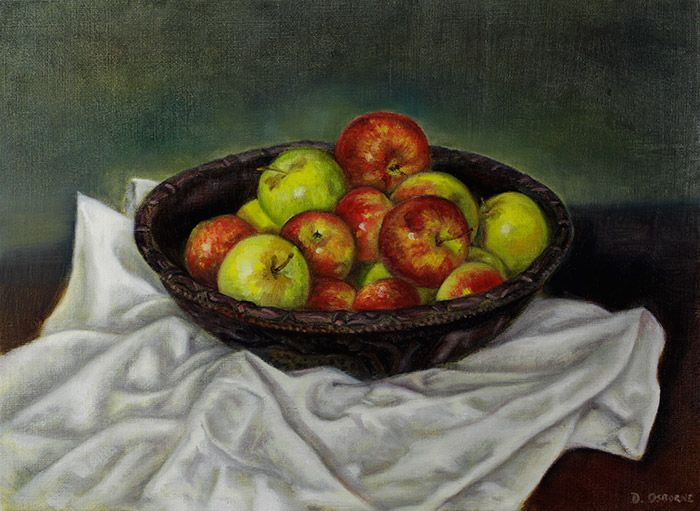 Alla-prima-still-life-painting-of-apples-by-Damian-Osborne