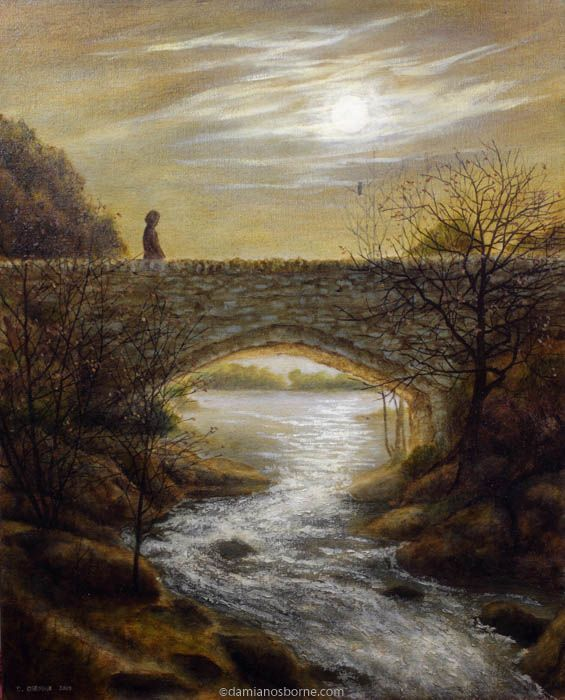 Moonlit Bridge, oil on canvas, Damian Osborne, 2010, fantasy art
