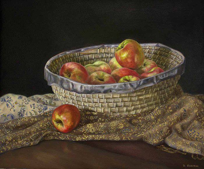 Still-life-of-apples-oil-on-canvas-by-Damian-Osborne