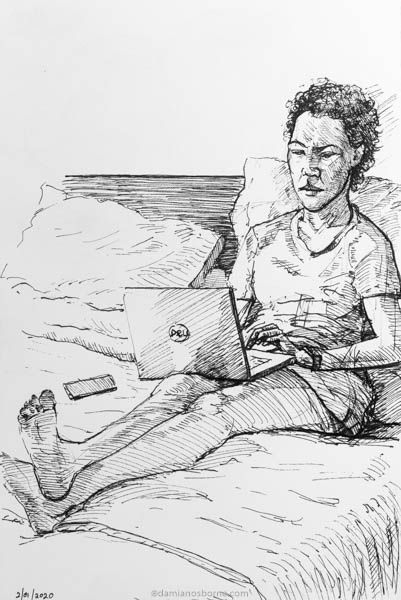Janine Working on Laptop, pen in sketchbook, Damian Osborne, 2020