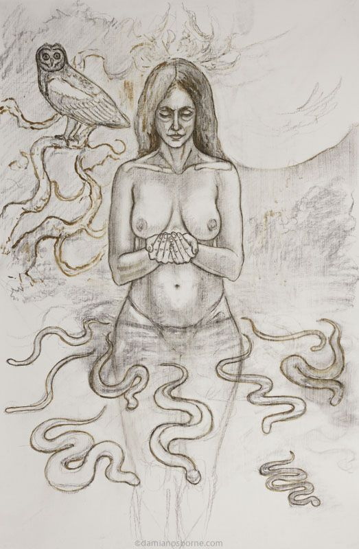 Lilith (Underdrawing Stage), oil on board, Damian Osborne, 2021, meaningful art
