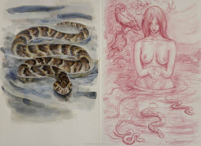 Lilith and Serpents, mixed media on paper, Damian Osborne, 2020, creating meaningful art