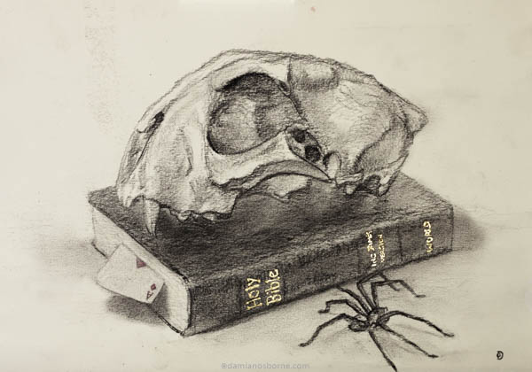 Memento Mori, charcoal on paper, Damian Osborne, 2020, meaning of art