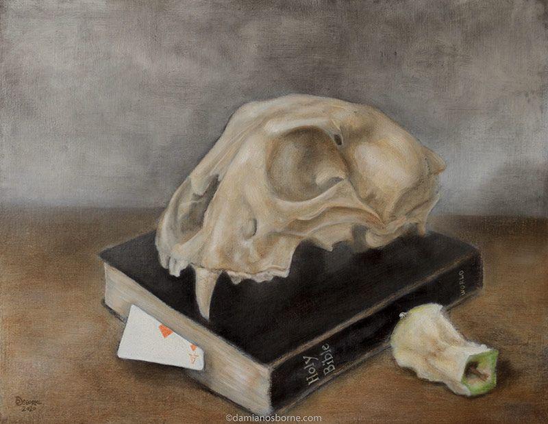 Memento-Mori,-oil-on-board,-Damian-Osborne,-2020