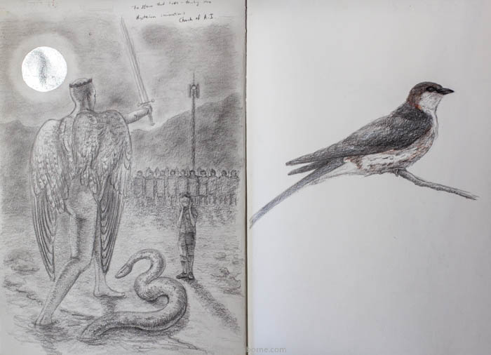 Pandemic Sketch and Swallow, charcoal and silverleaf in sketchbook, Damian Osborne, 2021, more meaningful art
