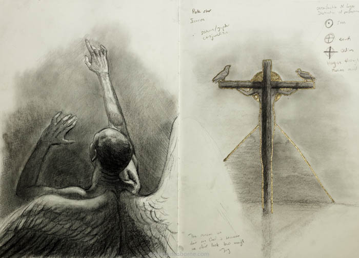 Polaris and Crucifixion, charcoal in sketchbook, Damian Osborne, 2020