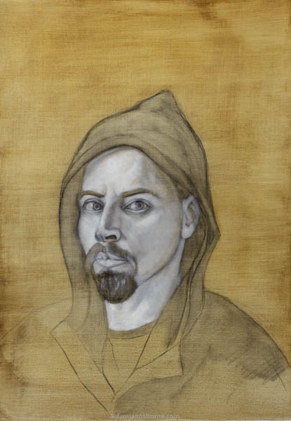 Self Portrait, Year of the Fool, Grisaille Stage, oil on board, Damian Osborne, 2021, more meaningful art