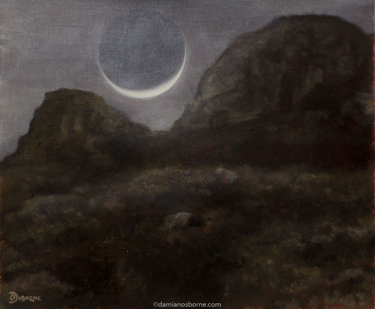 Crescent Moon and Mountain Nocturne, oil on panel, Damian Osborne, 20 x 23 cm, 2021
