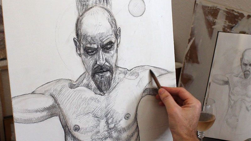Drawing-the-portrait-with-charcoal-on-a-gesso-panel-before-the-underpainting-stage-Damian-Osborne