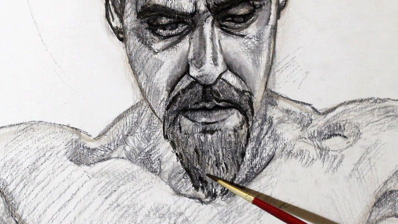 Painting-in-oils-directly-over-a-charcoal-drawing-Damian-Osborne