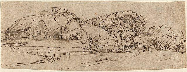 Rembrandt gesture drawing landscape