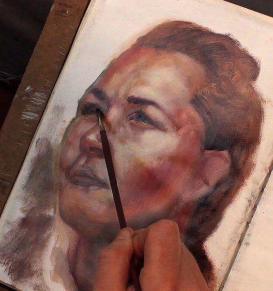 Alla-prima-portrait-study,-adding-dark-accents,-Damian-Osborne,-sketchbook-oil-painting-with-Zorn-palette