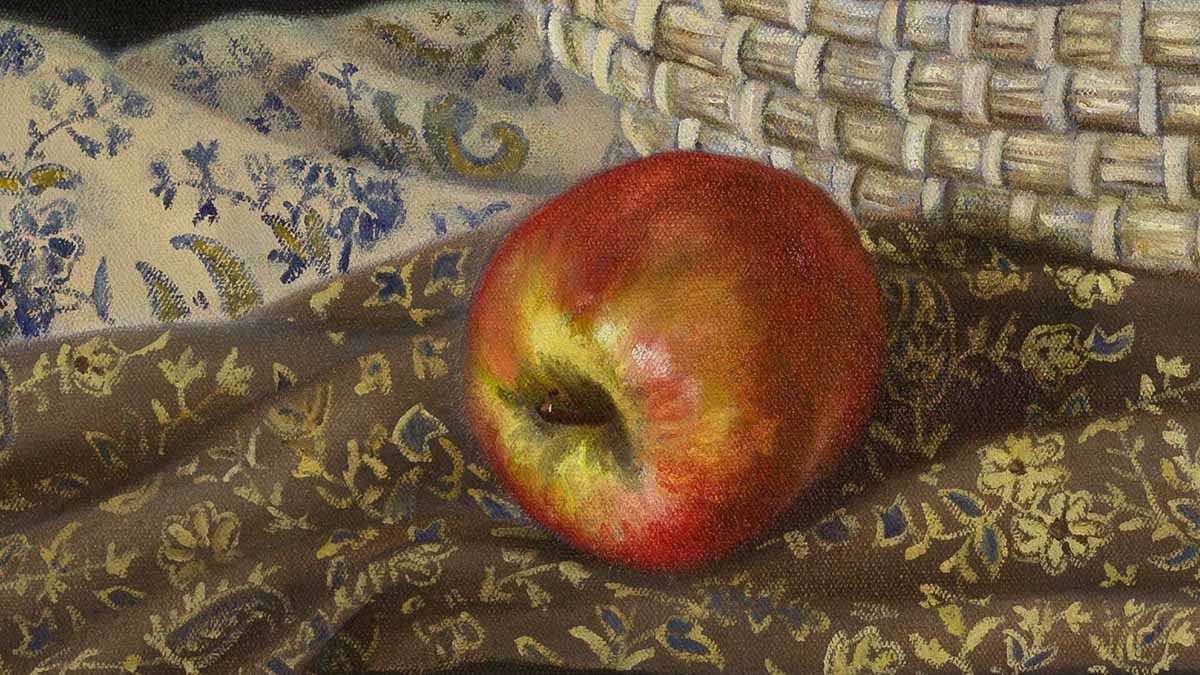 Apple, close up, still life painting