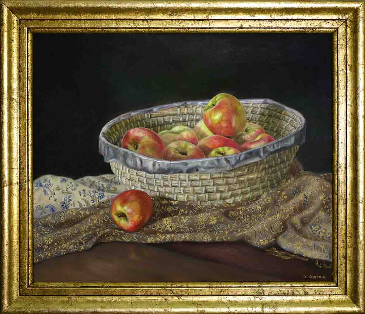 Apple oil painting, framed with goldleaf