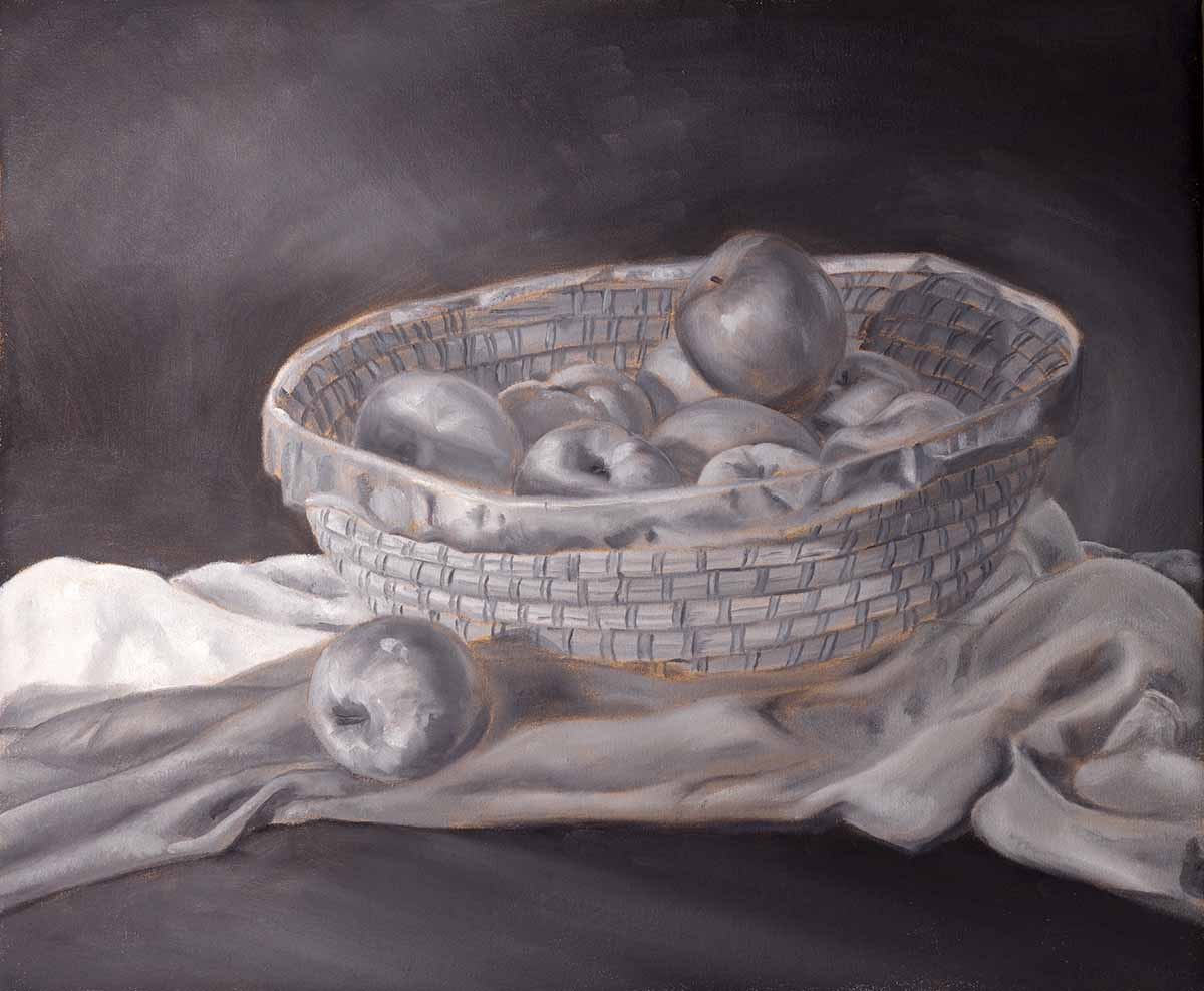 The grisaille underpainting, bowl of apples