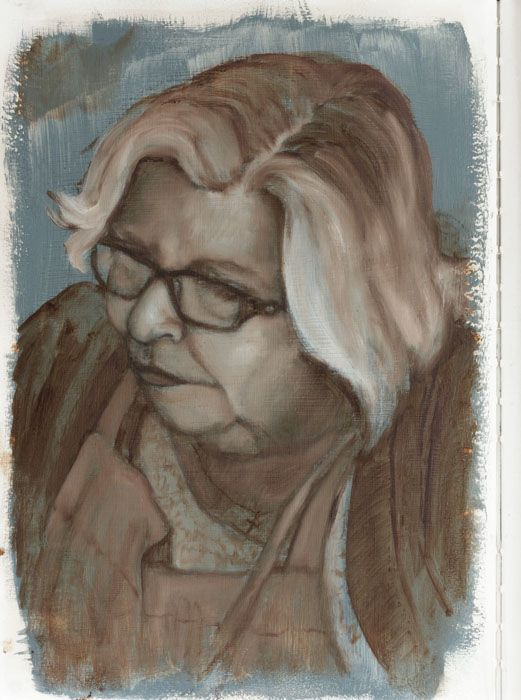 Aunty Brenda, oil sketch portrait in sketchbook by Damian Osborne