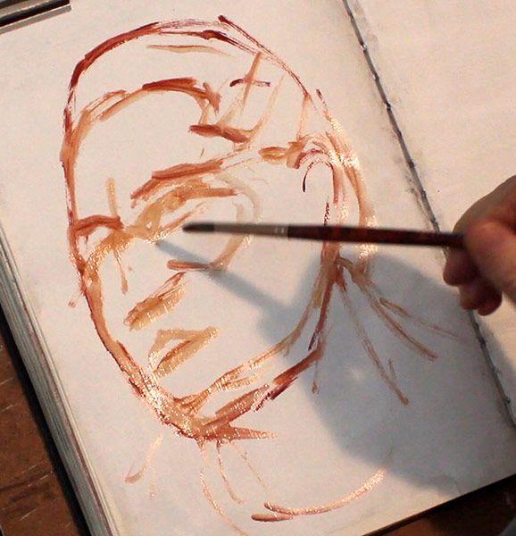Brush-drawing-portrait-oil-sketch,-Damian-Osborne,-sketchbook-oil-painting