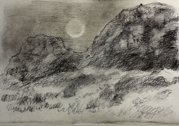 Crescent Moon and Mountain Nocturne, charcoal in sketchbook, Damian Osborne, 2020