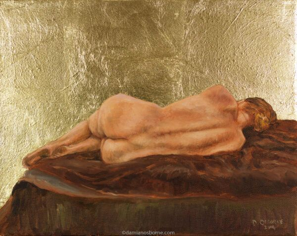 Golden Silence, figurative oil painting by Damian Osborne, oil on canvas with goldleaf, 28 x 35 cm, 2014