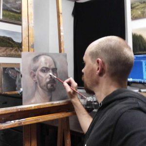Damian Osborne Fine Artist painting self portrait with Zorn palette