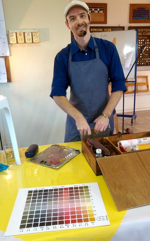 Damian Osborne fine artist, setting up for the Zorn colour palette demo