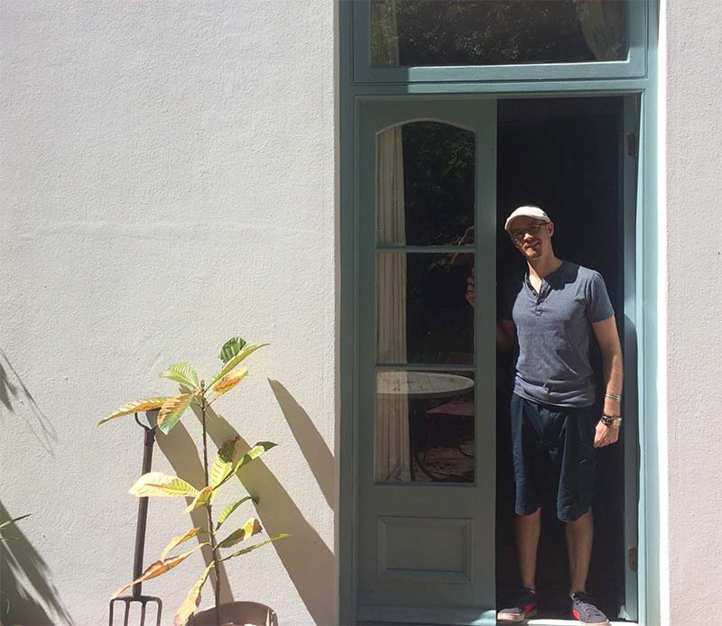 Artist Damian Osborne outside his Constantia studio