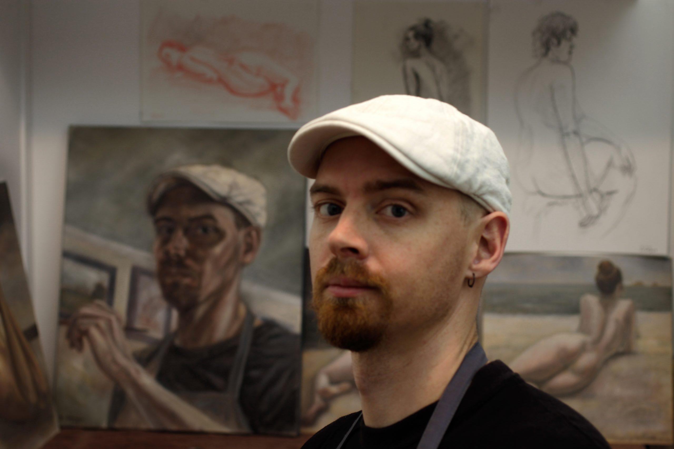Damian Osborne, artist in studio