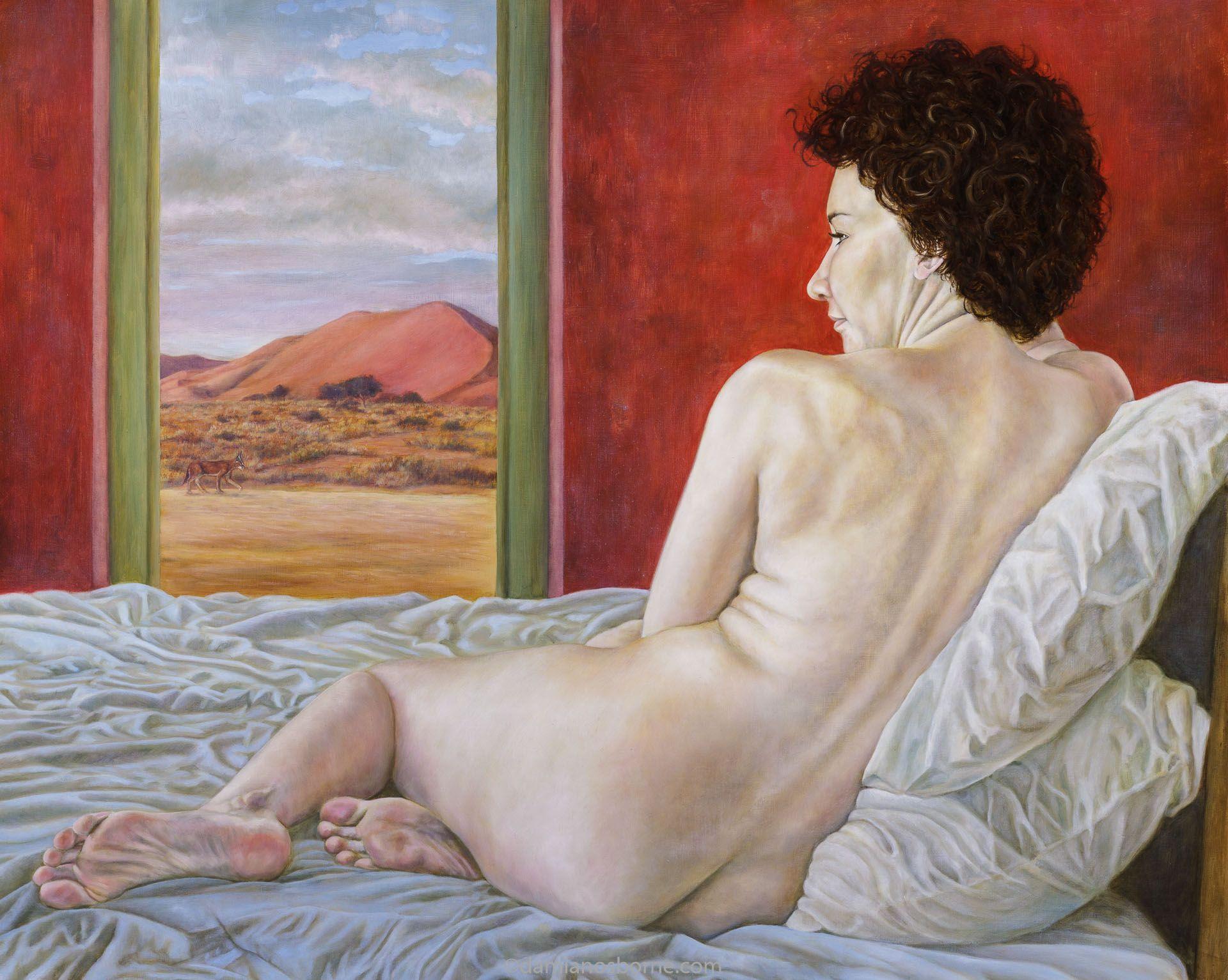 Desert Daydreams by Damian Osborne, oil on board, 77 x 96 cm, 2015-figure painting