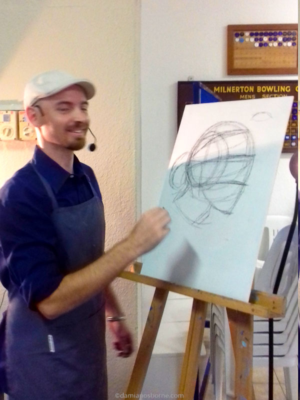 Drawing the head in charcoal with the Loomis method by Damian Osborne
