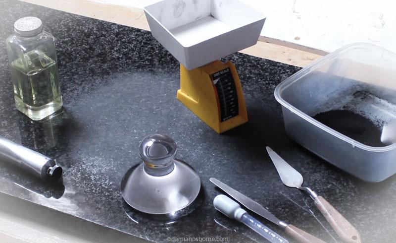 Equipment used for handmaking oil paints, making bone black oil paint, Damian Osborne