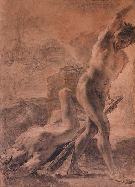 Gaetano Gandolfi, Cain and Abel, black chalk, with touches of white, old master gesture sketch