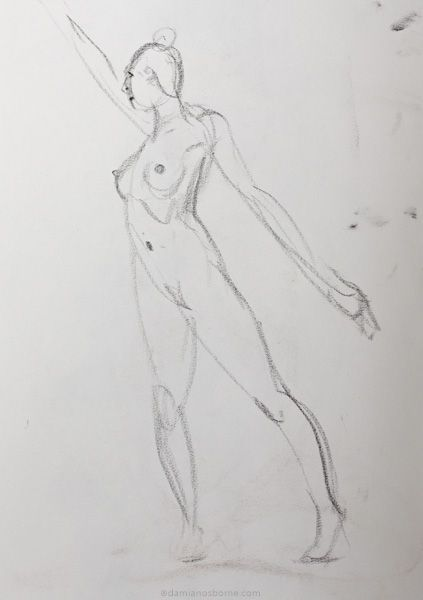Gesture drawing, 2 minute, female nude reaching up, charcoal, Damian Osborne, 2019