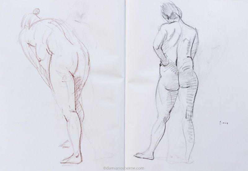 Gesture drawing, 5 minute, woman standing, Damian Osborne 2018