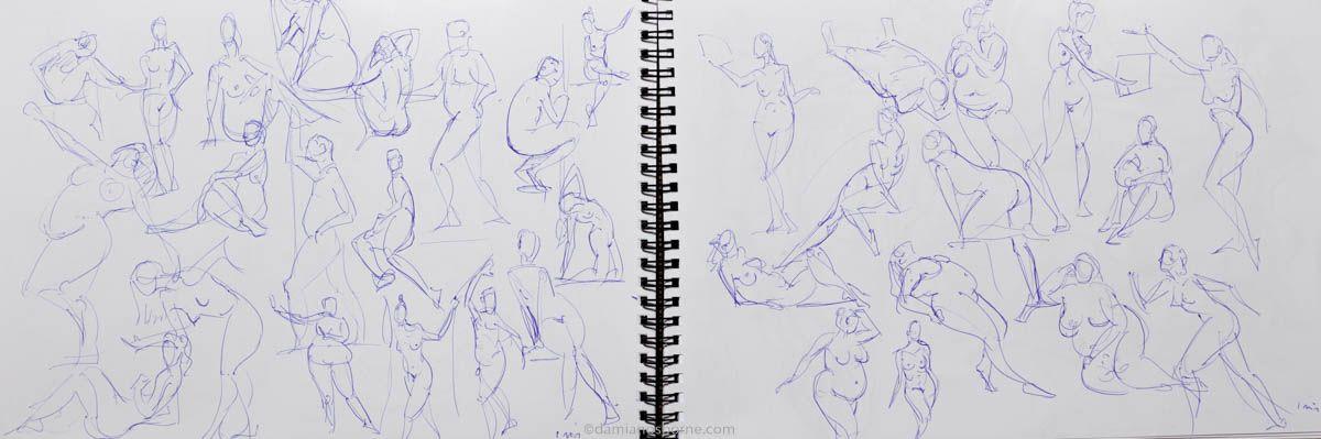 Gesture drawings, 1 minute, ballpoint pen, Damian Osborne, 2020