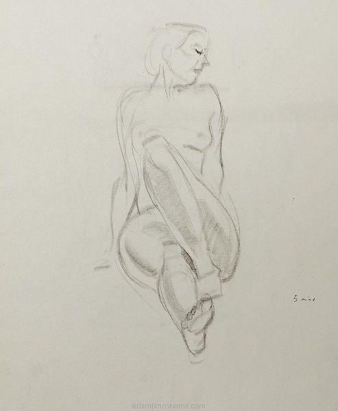 Gesture drawing, 5 minute, female nude, charcoal, Damian Osborne, 2019