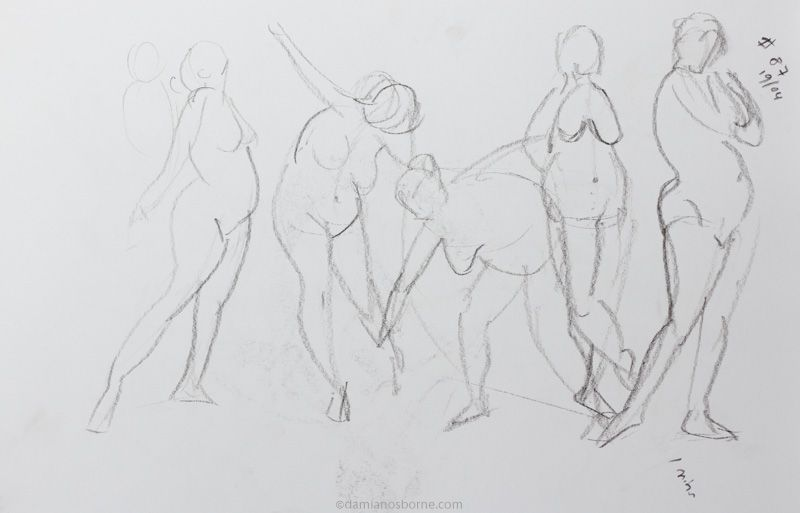Gesture drawings, croquis cafe, 1 minute, female nude, charcoal, Damian Osborne, 2017