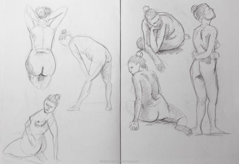 Gesture drawings, female nude, Damian Osborne, 2018