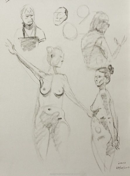 Gesture drawings, 2 minute, female nude, charcoal, Damian Osborne, 2019