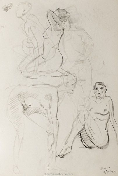 Gesture sketches, 2 minute, Damian Osborne