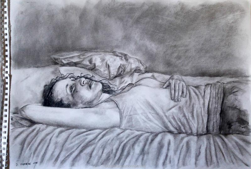 Janine Lying on the Bed Thinking, charcoal on paper, Damian Osborne, girl lying on bed thinking