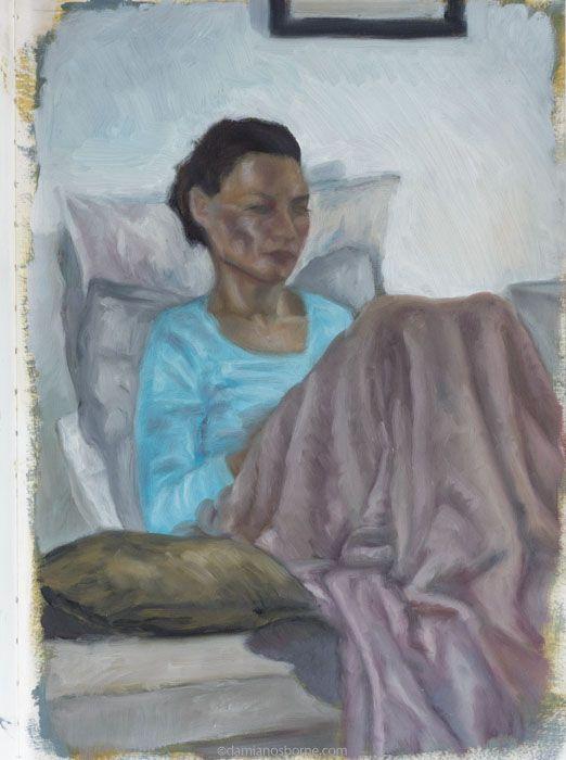 Janine reading, oil sketch portrait in sketchbook by Damian Osborne