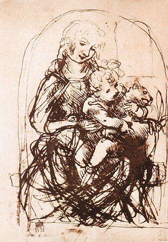Leonardo da Vinci, Study for the Madonna of the Cat