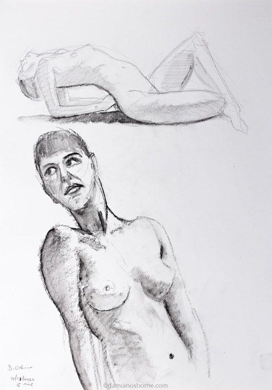Life Drawing 2020, charcoal and wash, Damian Osborne