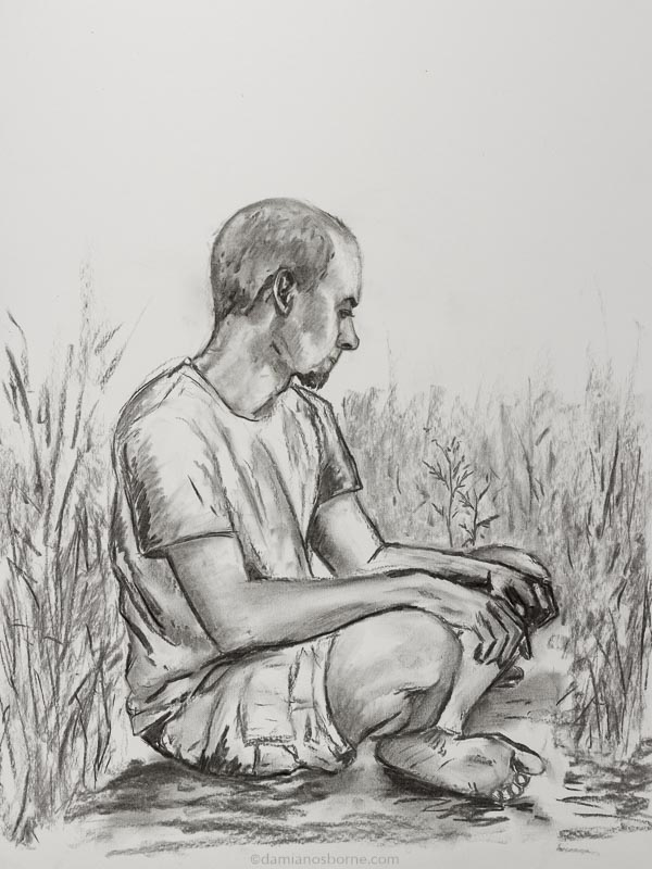 Lost my Way, charcoal on paper, Damian Osborne, 2016, searching for meaning as an artist
