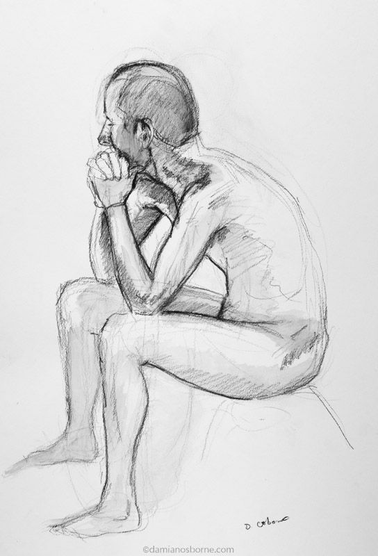 Male Nude, charcoal and wash, Damian Osborne, from life, 2018