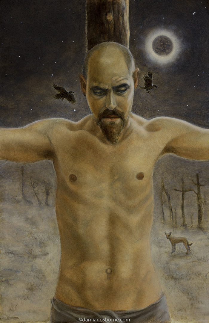Nigredo, self-portrait painting, oil on board, Damian Osborne, 2021, final stages of a portrait painting