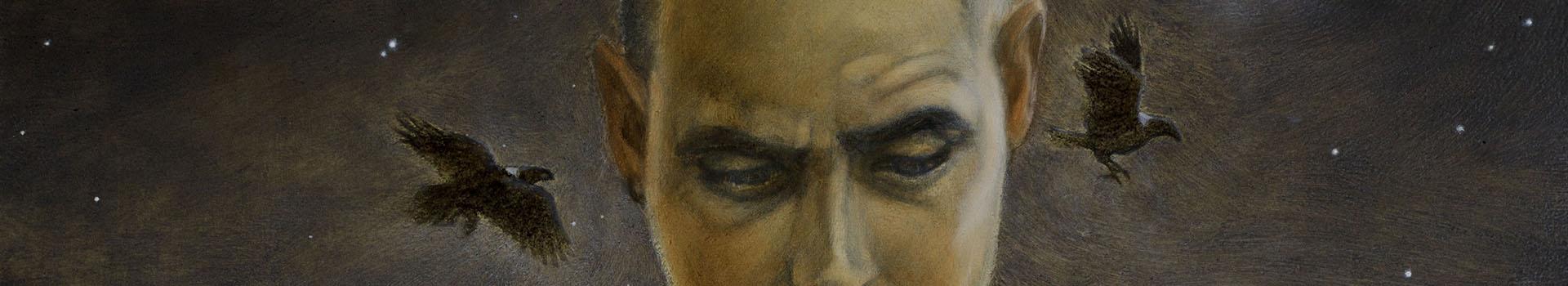 Nigredo, oil on board, Damian Osborne, 2021, ravens, avoiding neurosis as an artist
