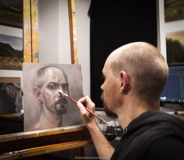 Painting a self-portrait in oils, Damian Osborne, Taking myself seriously as an artist