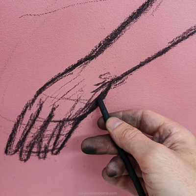 Painting the Traditional Way, part 2, detail of the charcoal underdrawing of the left hand, Damian Osborne